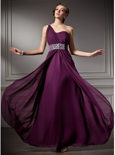 A-Line/Princess One-Shoulder Floor-Length Chiffon Prom Dress With Ruffle Beading (018004882)