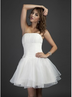 A-Line/Princess Strapless Short/Mini Organza Bridesmaid Dress With Ruffle (007051839)