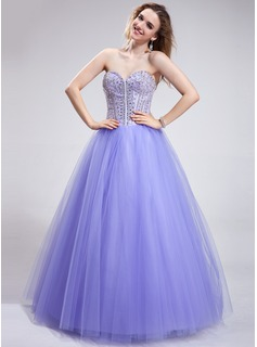 Ball-Gown Sweetheart Floor-Length Satin Tulle Prom Dress With Beading Sequins (018025286)