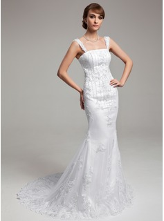 Trumpet/Mermaid Court Train Satin Tulle Wedding Dress With Lace Beading (002000183)