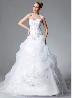 Ball-Gown Sweetheart Chapel Train Satin Organza Wedding Dress With Embroidered Ruffle Beading Sequins (002004178)
