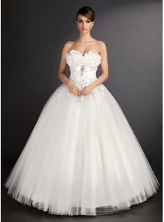 Ball-Gown Sweetheart Floor-Length Satin Tulle Wedding Dress With Lace Beading Sequins (002015490)