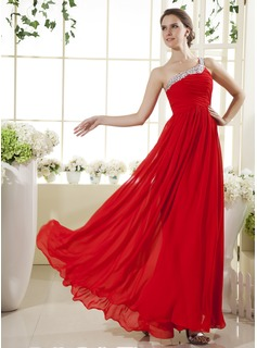 A-Line/Princess One-Shoulder Floor-Length Chiffon Holiday Dress With Ruffle Beading (020025964)