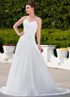 A-Linie/Princess-Linie Herzausschnitt Hof-schleppe Taft Brautkleid mit Rüschen Spitze Perlen verziert (002012023)