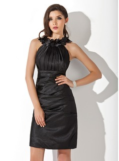 Sheath/Column Scoop Neck Knee-Length Charmeuse Cocktail Dress With Ruffle Flower(s) (016021272)