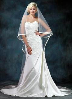 Forme Sirène/Trompette Bustier en coeur Traîne mi-longue Satiné Robe de mariée avec Emperler Motifs appliqués Dentelle Robe à volants (002000602)