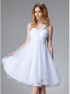 Empire One-Shoulder Knee-Length Taffeta Organza Homecoming Dress With Ruffle Beading (022004493)