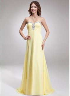 A-Linie/Princess-Linie Herzausschnitt Sweep/Pinsel zug Chiffon Abendkleid mit Rüschen Perlen verziert (017016879)