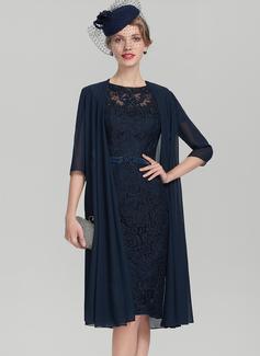 Etui-Linie U-Ausschnitt Knielang Charmeuse Spitze Kleid für die Brautmutter mit Perlstickerei Pailletten (008107647)