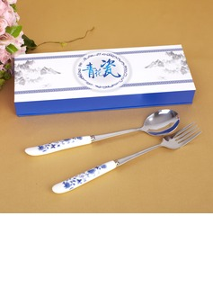 Blue-and-white Ceramics Design Stainless Steel Spoon And Fork Set (051026881)
