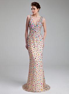 Sheath/Column V-neck Sweep Train Chiffon Prom Dress With Beading (018019097)