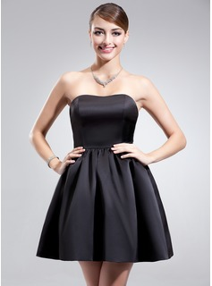 A-Line/Princess Sweetheart Short/Mini Satin Bridesmaid Dress With Ruffle (007004303)
