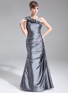 Trompete/Meerjungfrau-Linie Bodenlang Taft Kleid für die Brautmutter mit Rüschen (008005672)