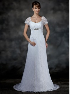 Empire Scoop Neck Court Train Satin Lace Wedding Dress With Beading (002000214)