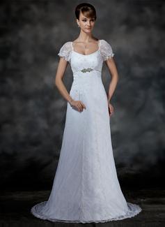 Forme Empire Col rond Traîne moyenne Satiné Dentelle Robe de mariée avec Emperler (002000214)