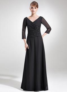 A-Linie/Princess-Linie V-Ausschnitt Bodenlang Chiffon Kleid für die Brautmutter mit Rüschen Perlen verziert (008006180)
