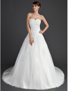 Ball-Gown Sweetheart Chapel Train Satin Tulle Wedding Dress With Lace (002011656)