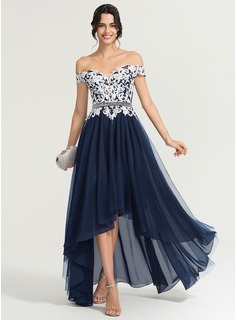 A-Line/Princess Off-the-Shoulder Asymmetrical Tulle Evening Dress With Beading Sequins (017167719)
