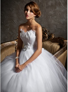 Ball-Gown Sweetheart Court Train Satin Tulle Wedding Dress With Beading Feather Flower(s) (002004769)