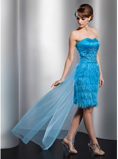 Robe de Bal de Promo Gaine Cur Assymetrique Satin Tulle Plume Robe de Bal de Promo avec Brod Paillet (018014760)