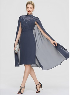 Sheath/Column High Neck Knee-Length Chiffon Cocktail Dress With Ruffle (016189355)