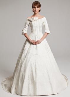 Forme Princesse Epaules nues Traîne mi-longue Charmeuse Robe de mariée avec Plissé Emperler Fleur(s) (002017570)