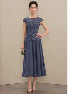 A-Linie U-Ausschnitt Wadenlang Chiffon Spitze Kleid für die Brautmutter (008179205)