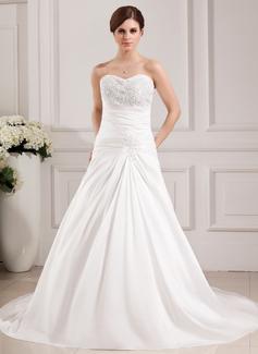Forme Princesse Bustier en coeur Traîne chappelle Taffeta Robe de mariée avec Plissé Dentelle Emperler (002000468)