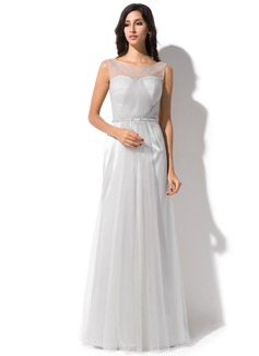 Trompete/Meerjungfrau-Linie U-Ausschnitt Bodenlang Tüll Abendkleid mit Rüschen Perlen verziert Pailletten (017052647)