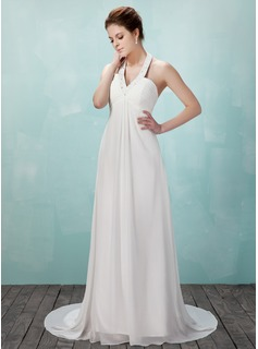 Empire Halter Court Train Chiffon Wedding Dress With Ruffle Beading (002011555)