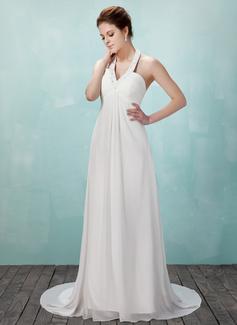 Forme Empire Dos nu Traîne moyenne Mousseline Robe de mariée avec Plissé Emperler (002011555)