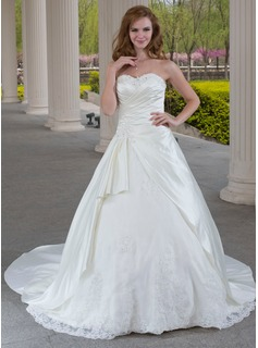Cheap Wedding Dresses Ball-Gown Sweetheart Chapel Train Satin Tulle Wedding Dress With Ruffle Lace Beadwork (002000471)