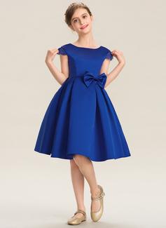 A-Linie U-Ausschnitt Knielang Satin Kleid für junge Brautjungfern mit Spitze Schleife(n) (009173281)
