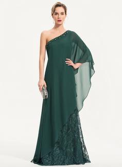 Etui-Linie Eine Schulter Sweep/Pinsel zug Spitze Abendkleid mit Perlstickerei Pailletten (017186135)