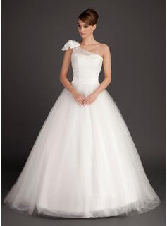 Ball-Gown One-Shoulder Sweep Train Tulle Wedding Dress With Ruffle Bow(s) (002015487)