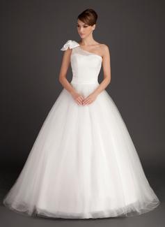 Duchesse-Linie One-Shoulder-Träger Sweep/Pinsel zug Tüll Brautkleid mit Rüschen Schleife(n) (002015487)