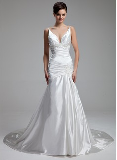 Forme Princesse Col V Traîne mi-longue Charmeuse Robe de mariée avec Plissé Emperler Motifs appliqués Dentelle (002000434)