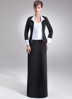 Etui-Linie Herzausschnitt Bodenlang Satin Kleid für die Brautmutter mit Rüschen Perlen verziert (008006488)