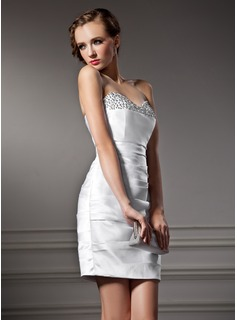 Sheath Sweetheart Short/Mini Satin Cocktail Dress With Ruffle Beading (016008623)