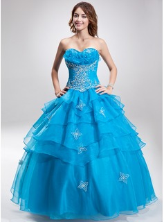 Ball-Gown Sweetheart Floor-Length Organza Quinceanera Dress With Embroidered Beading Sequins Cascading Ruffles (021004710)