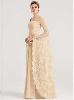 A-Line Square Neckline Floor-Length Chiffon Wedding Dress With Ruffle Beading (002207446)