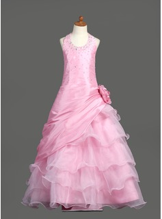 Ball Gown Floor-length Flower Girl Dress - Taffeta/Organza Sleeveless Scoop Neck With Ruffles/Beading/Flower(s)/Sequins/Pick Up Skirt (010005778)
