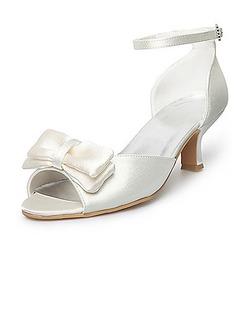 Frauen Satiniert Spule Absatz Peep Toe Sandalen mit Flakem (047025589)