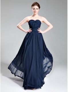 Evening Dresses A-Line/Princess Sweetheart Floor-Length Chiffon Evening Dress With Ruffle Beading (017019741)