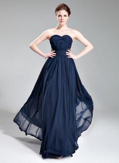A-Linie/Princess-Linie Herzausschnitt Bodenlang Chiffon Abendkleid mit Rüschen Perlen verziert (017019741)