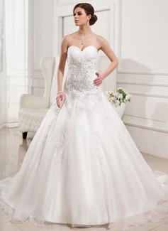 Ball-Gown Sweetheart Chapel Train Satin Organza Wedding Dress With Ruffle Lace Beading (002011677)