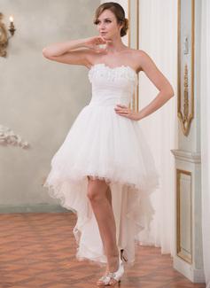 Forme Princesse Bustier en coeur Traîne asymétrique Organza Tulle Robe de mariée avec Plissé Emperler Fleur(s) (002055208)