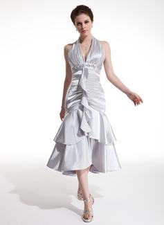 A-Line/Princess Halter Tea-Length Charmeuse Cocktail Dress With Beading Cascading Ruffles (016021207)