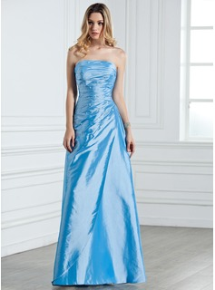 Sheath/Column Strapless Floor-Length Taffeta Bridesmaid Dress With Ruffle Beading (007001076)