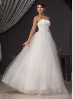 A-Line/Princess Strapless Floor-Length Tulle Wedding Dress With Ruffle Beading (002014470)